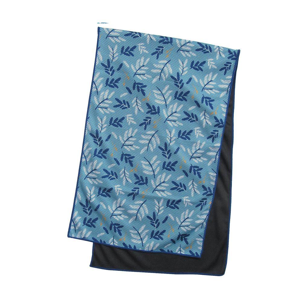日本 DAIKAI - 吸水速乾UV CUT加工 涼感巾-清新葉子-水藍 (100x30cm)