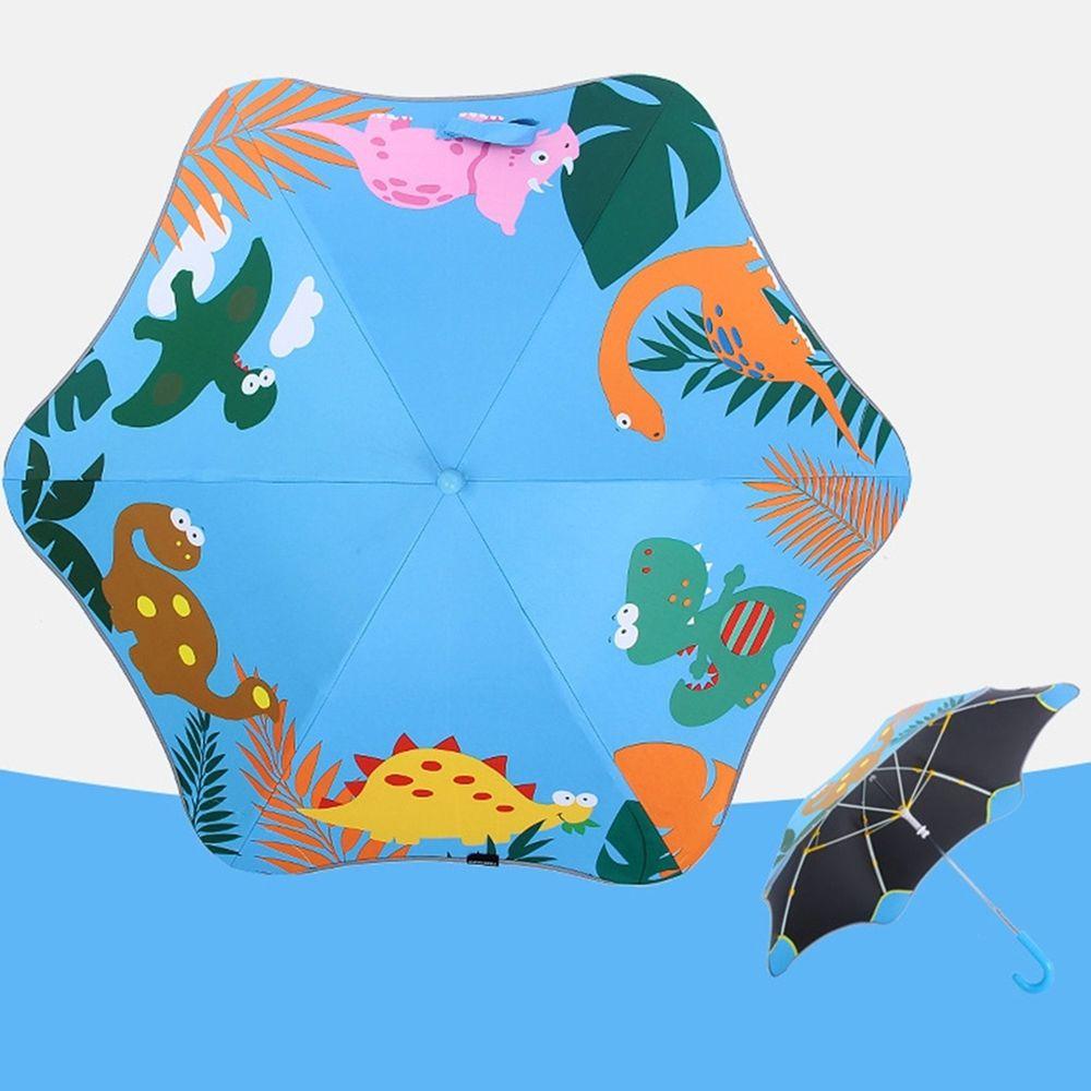 兒童圓角反光雨傘-恐龍-籃