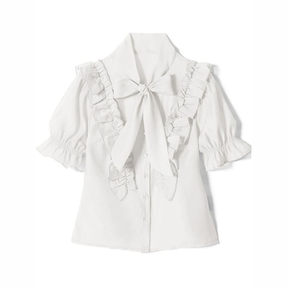 日本 GRL - 純棉優雅荷葉邊蝴蝶結綁帶短袖襯衫-天使白
