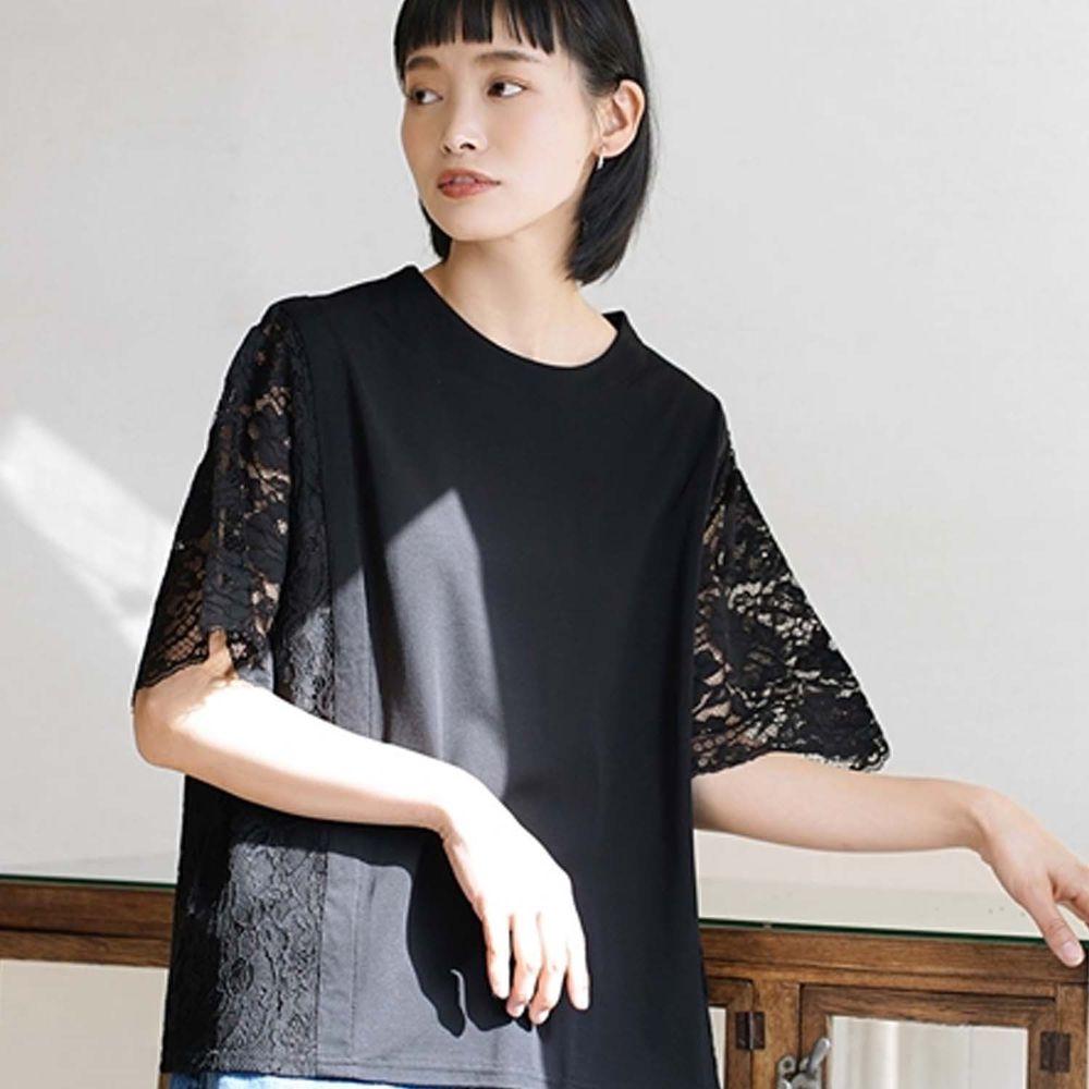 日本 zootie - 蕾絲雕花拼接五分袖上衣-黑