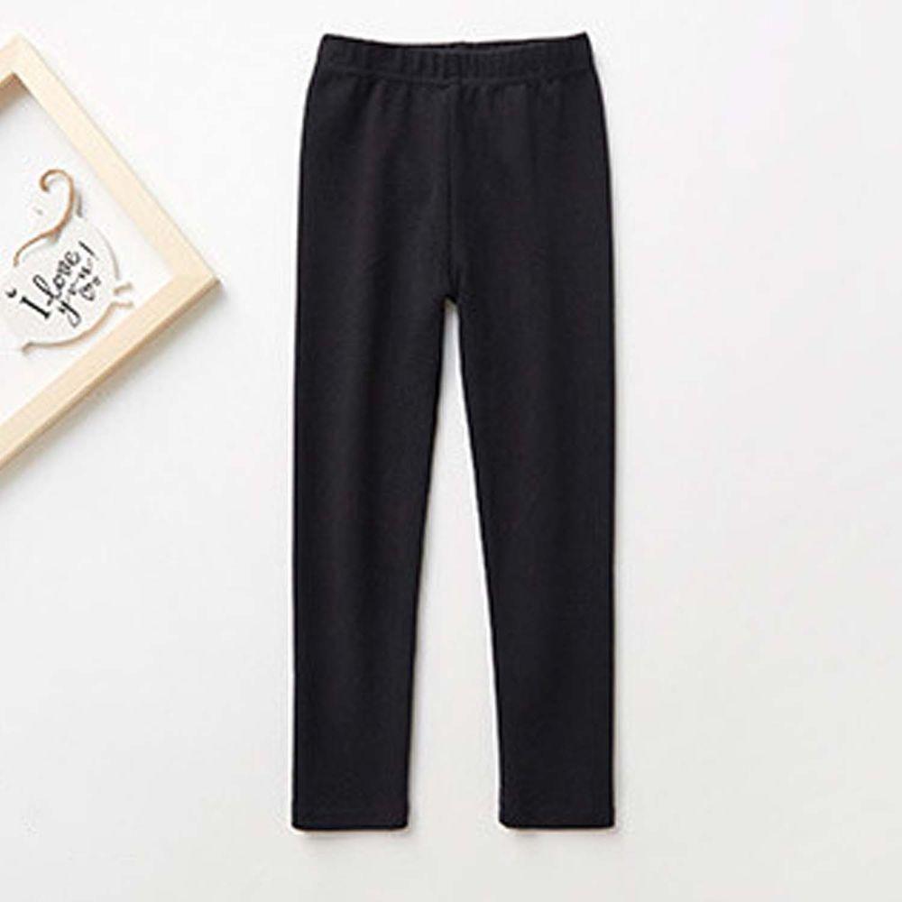 日本 TORIDORY - 舒適質感素色內搭褲-黑