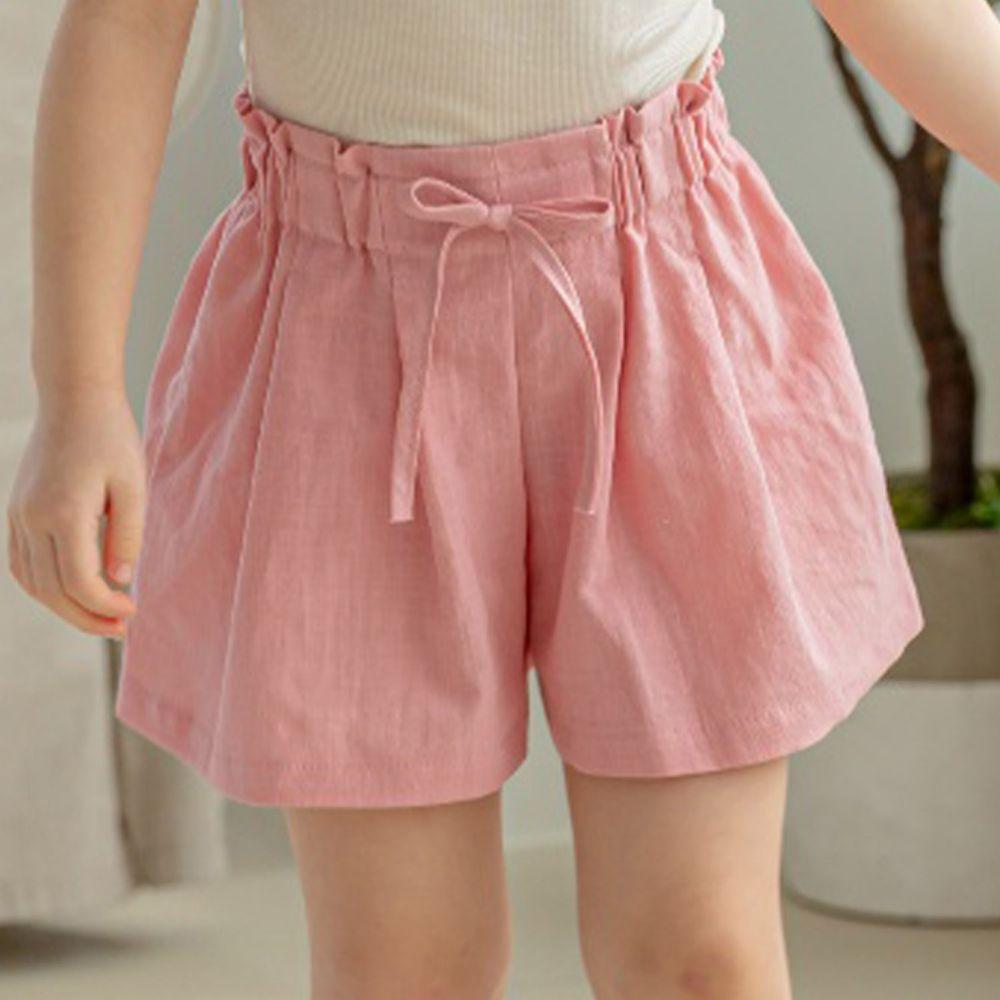 韓國 Orange Mom - 皺摺感褲裙-粉紅