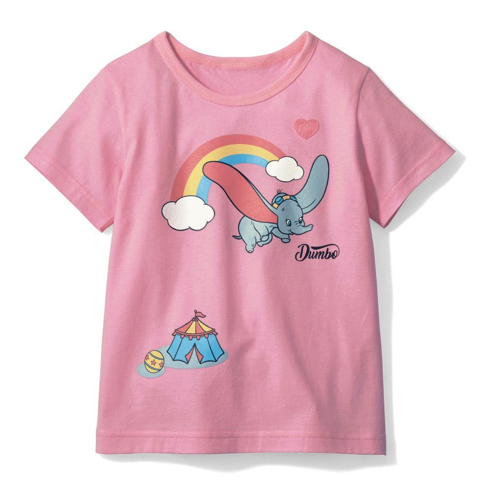 日本千趣會 - 迪士尼印花短T-小飛象彩虹-粉紅