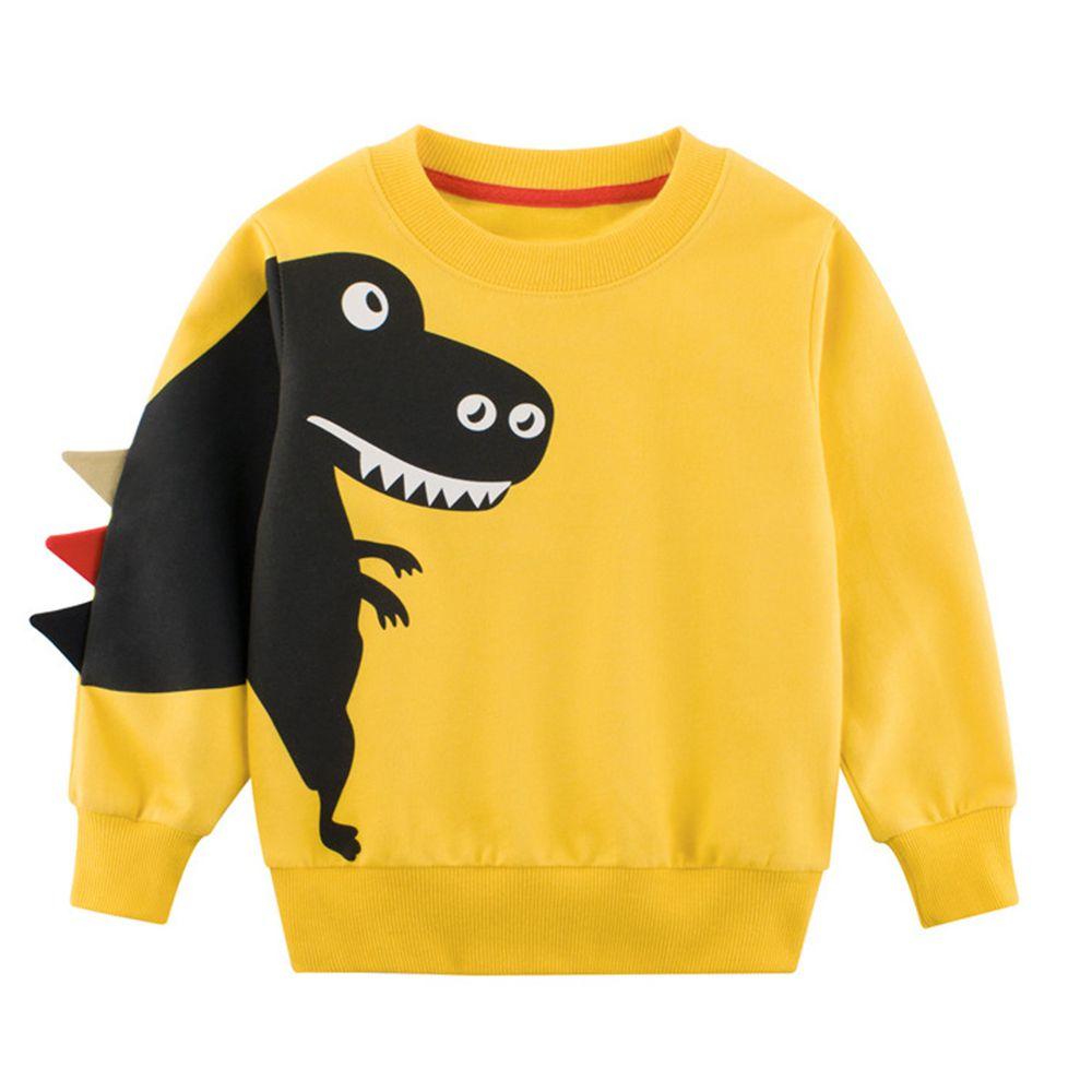 純棉長袖T恤-恐龍偷偷摸摸-黃色