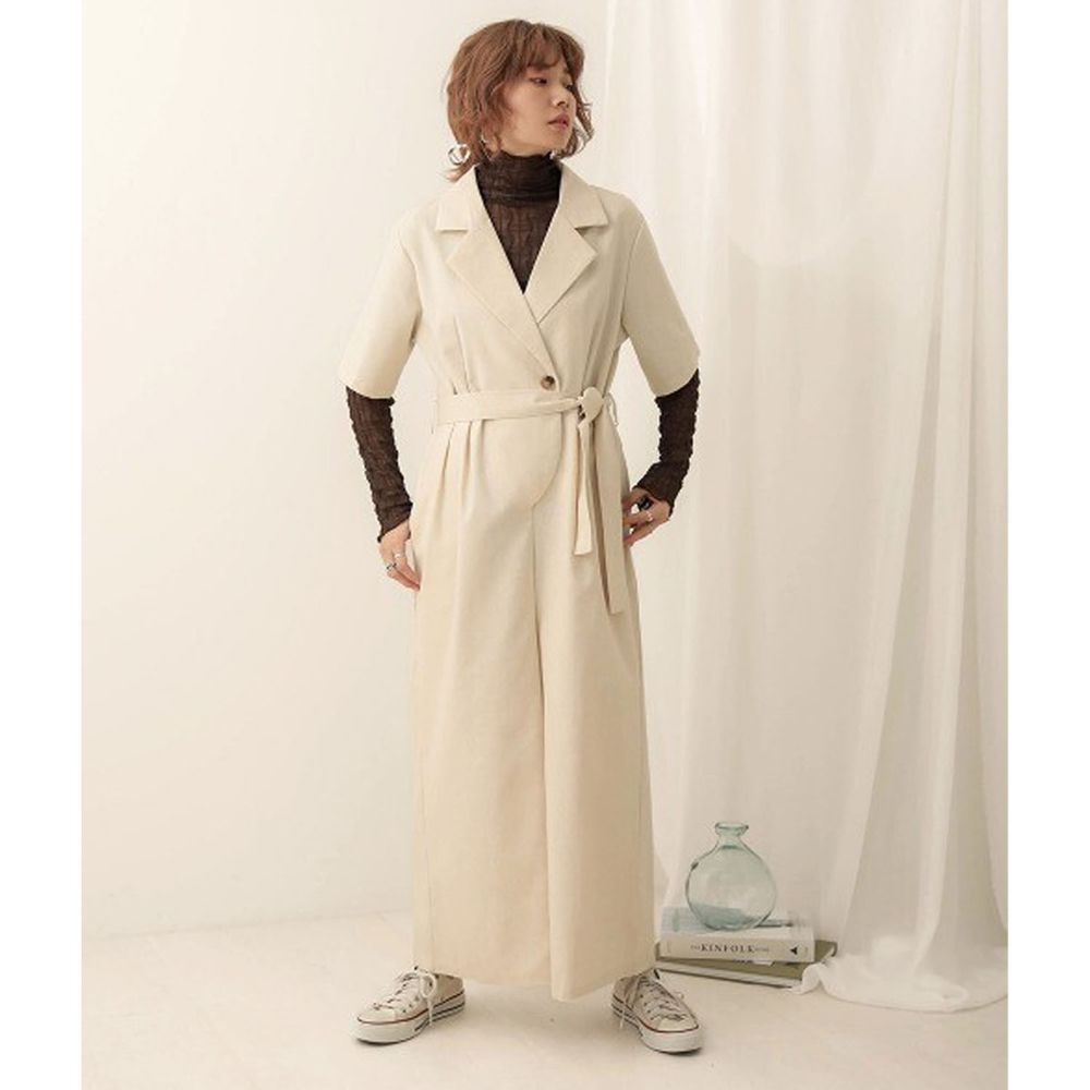 日本 Bou Jeloud - 率性工裝五分袖連身褲-米