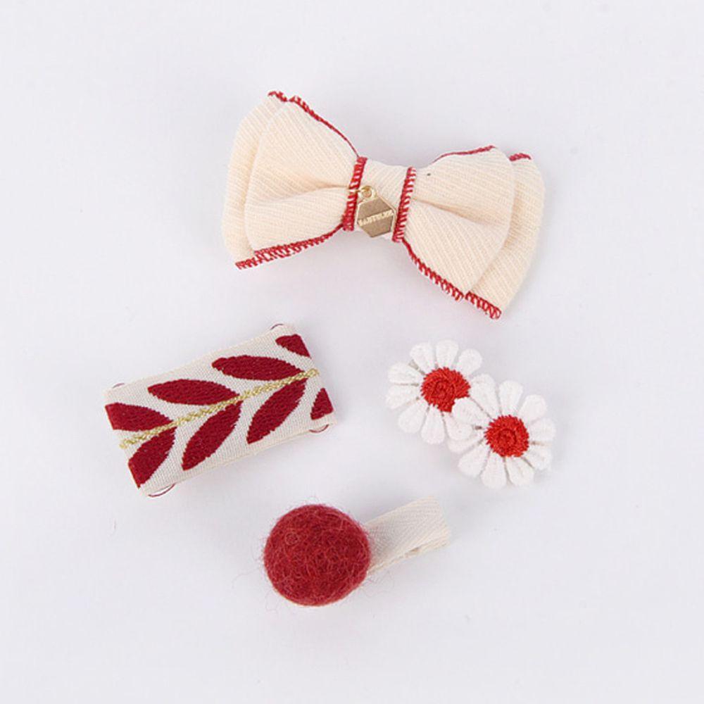 韓國 Babyblee - 耶誕紅髮夾/髮飾4入set-米蝴蝶結