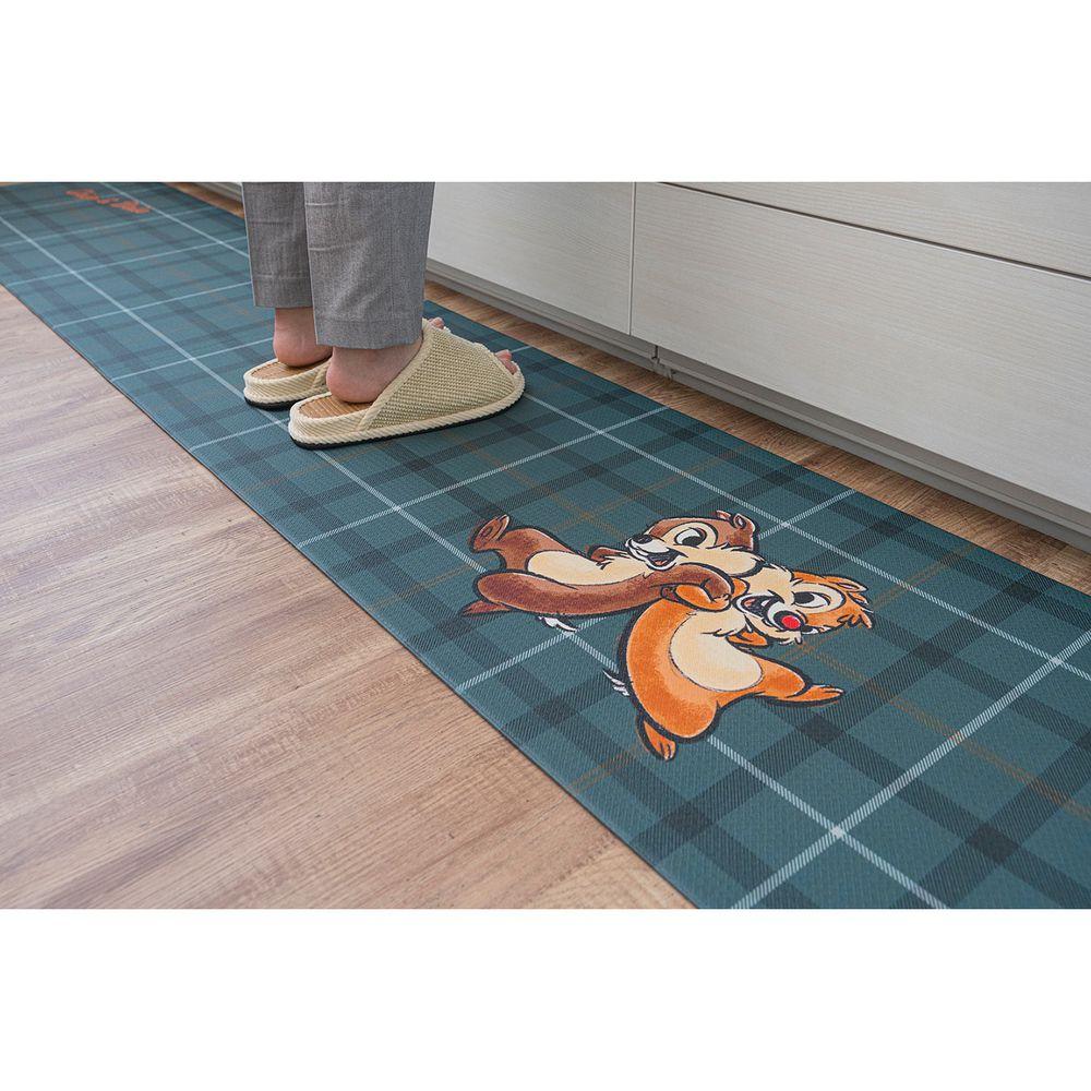 日本千趣會 - 迪士尼 長條型腳踏墊(廚房/臥室)-綠格紋奇奇蒂蒂