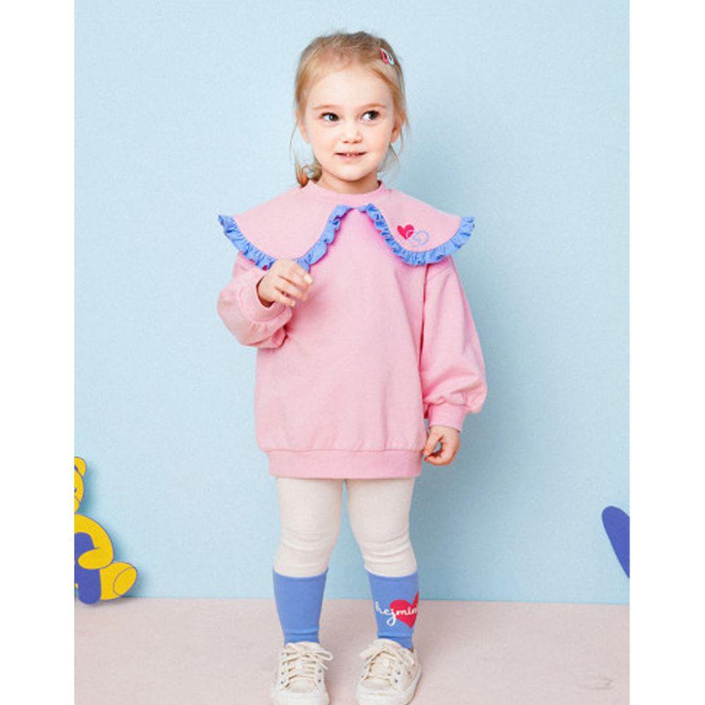 韓國 HEJMINI - 大荷葉滾邊領套裝-粉紅