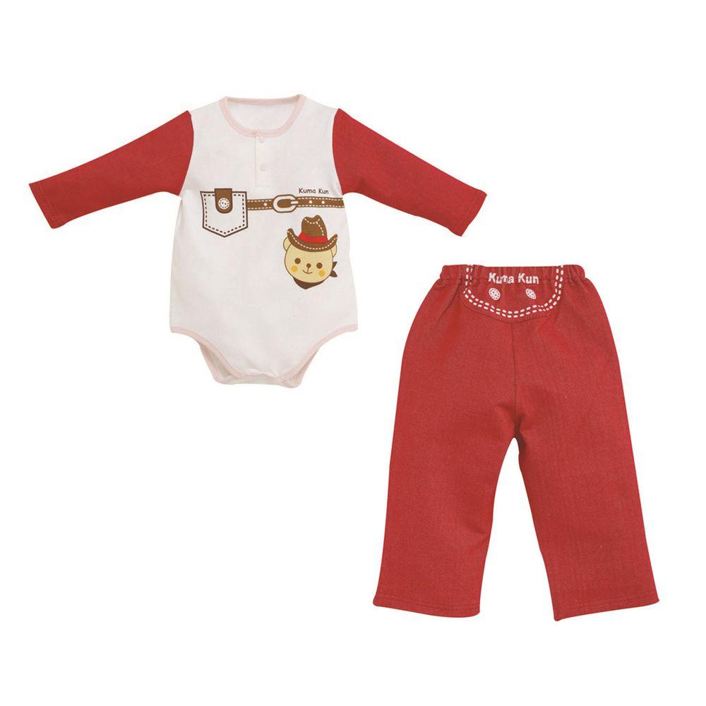 日本 Combi - 連身衣套裝-小小牛仔-紅色