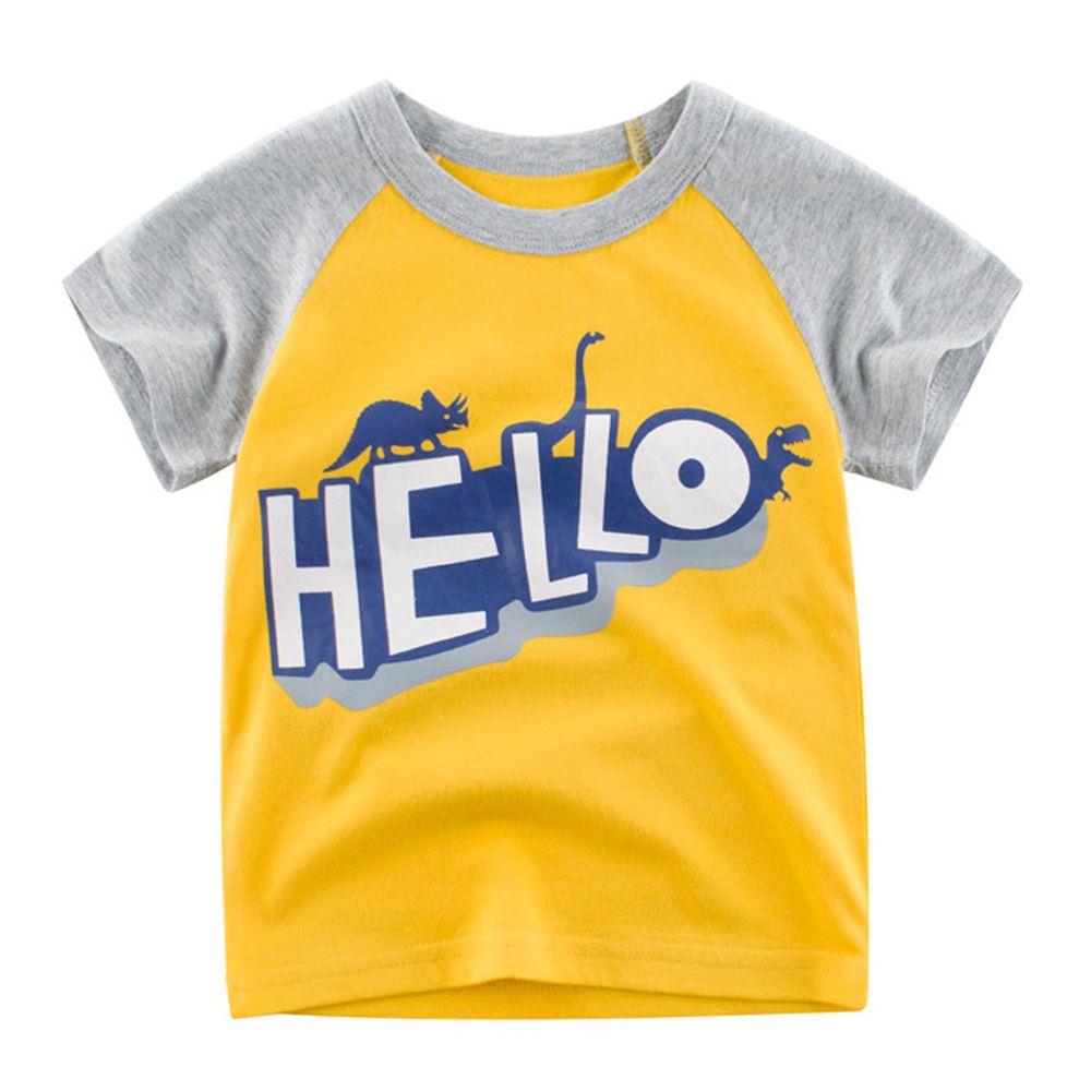 HELLO恐龍短袖棉T-黃X灰