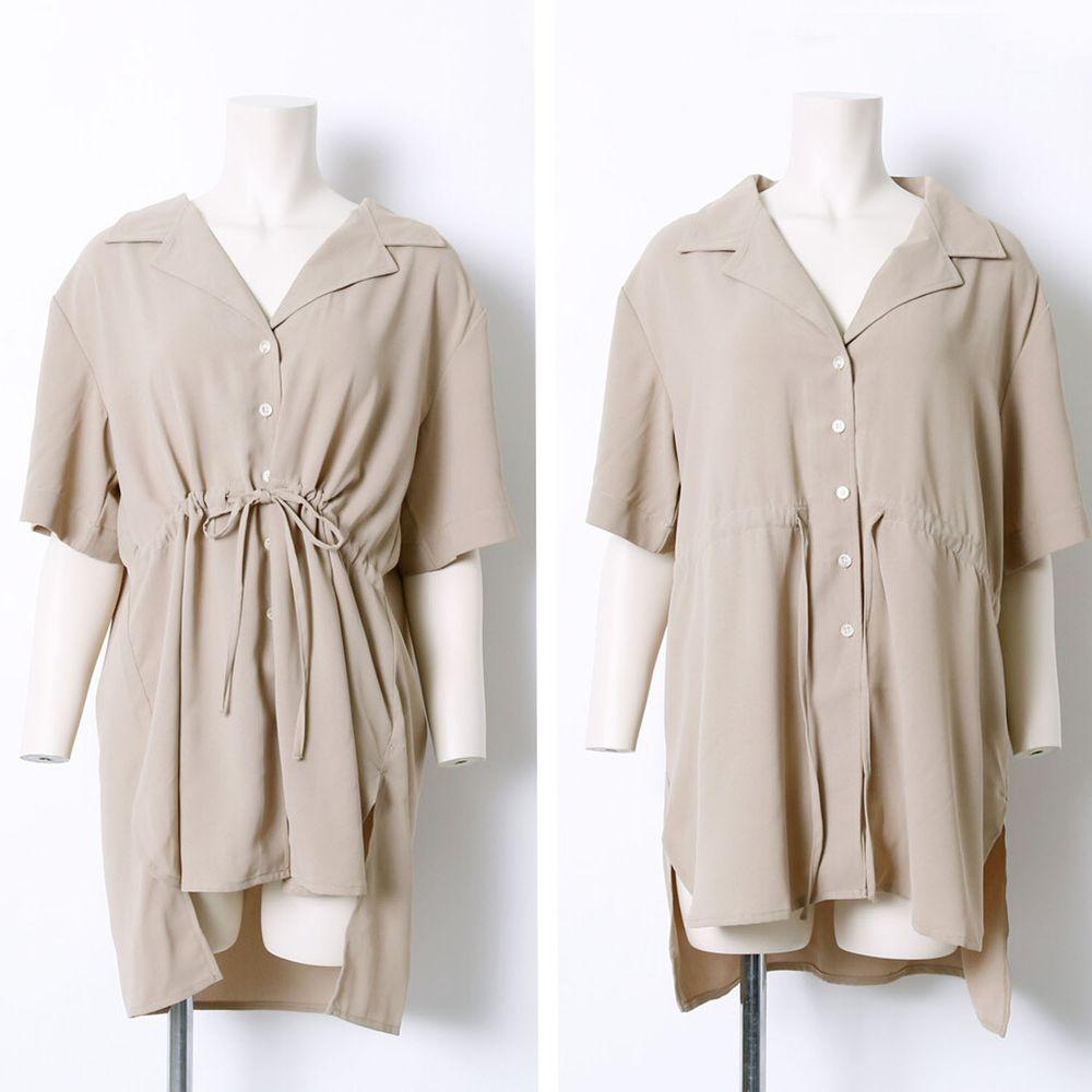 日本 Rejoule - 腰間綁帶前短後長五分袖襯衫上衣-杏 (M(Free size))