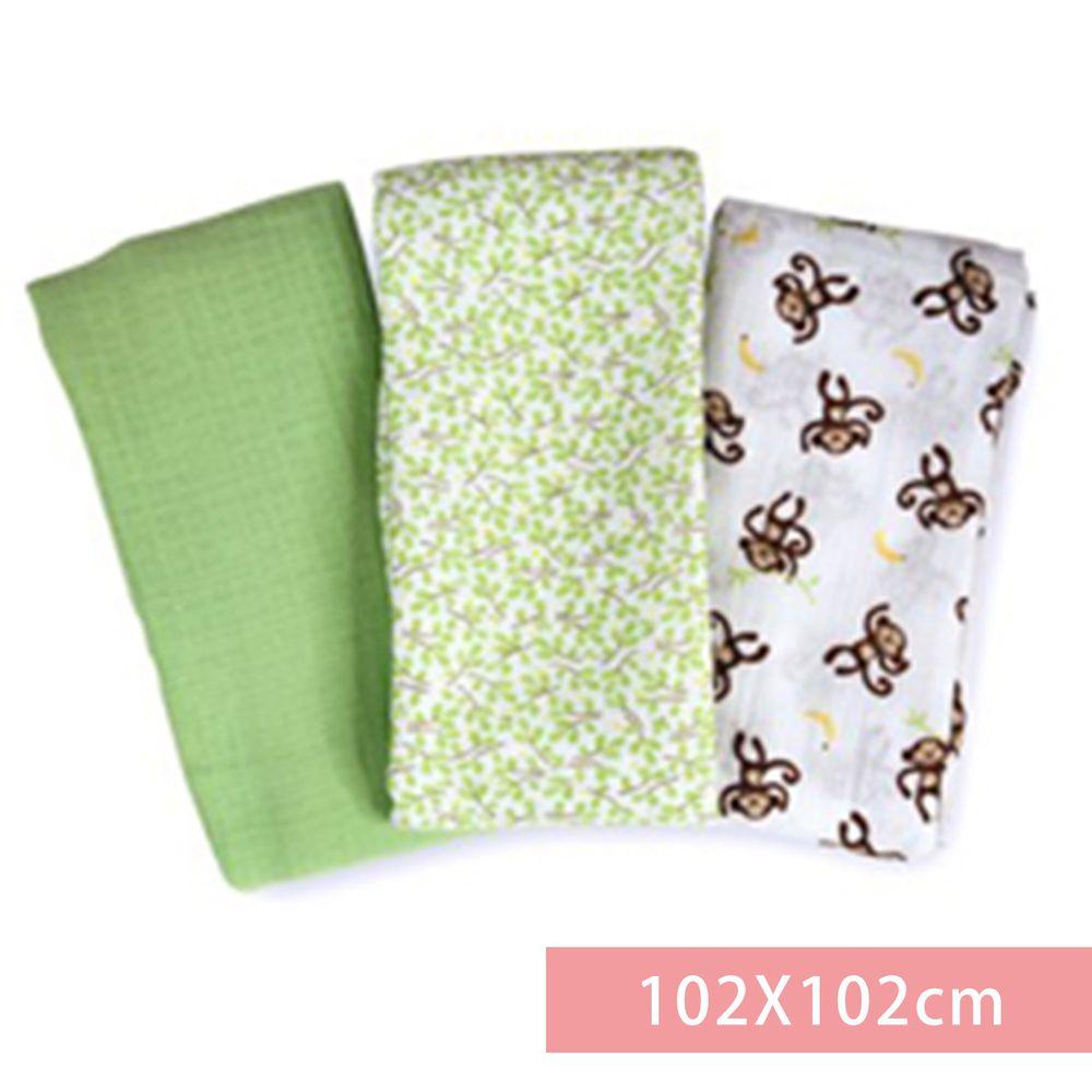 Summer Infant - 輕量細棉紗布寶寶毯3入組-俏皮小猴-適用年齡:新生兒起皆適用