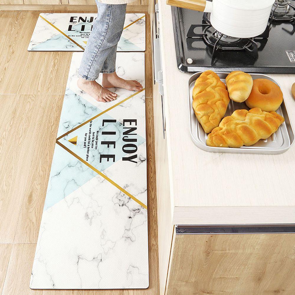 廚房仿皮革PVC防水腳踏墊-白色大理石Enjoy life
