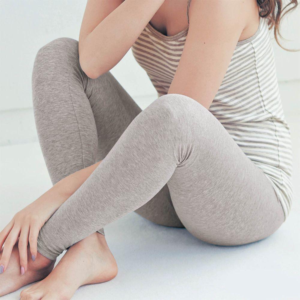 日本千趣會 - 95%棉 (媽媽)十分丈發熱褲-淺灰