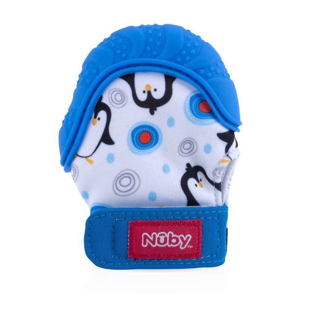 Nuby - 咬咬固齒手套(附收納袋)-藍