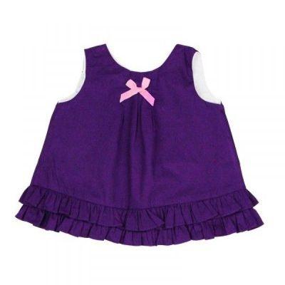 小女童甜美荷葉邊搖擺衣/洋裝-葡萄紫 (12-18M)