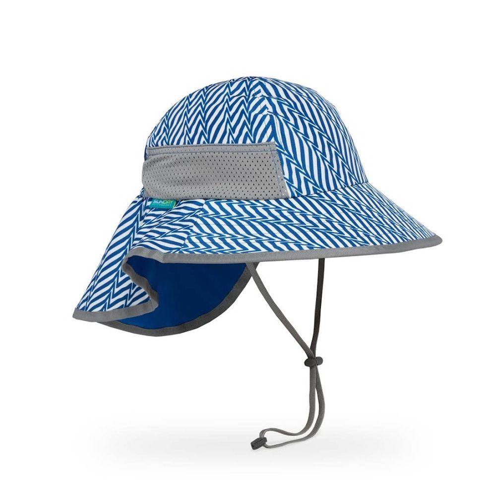 Sunday Afternoons - 兒童防曬帽-兒童抗UV防潑透氣護頸帽Kids Play Hat-藍色幾何折線