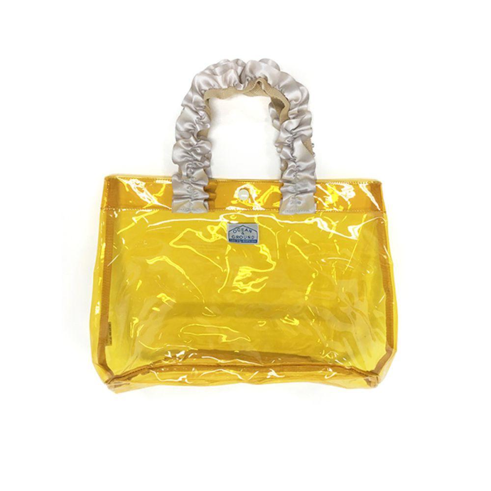 日本 OCEAN&GROUND - 透明PVC防水手提袋-緞帶度假風-亮黃 YE (27x33x20.5cm)