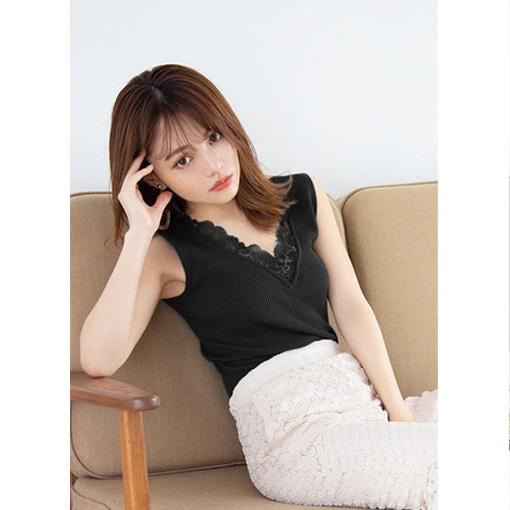 日本 GRL - 2wayV領內蕾絲邊無袖針織上衣-時尚黑
