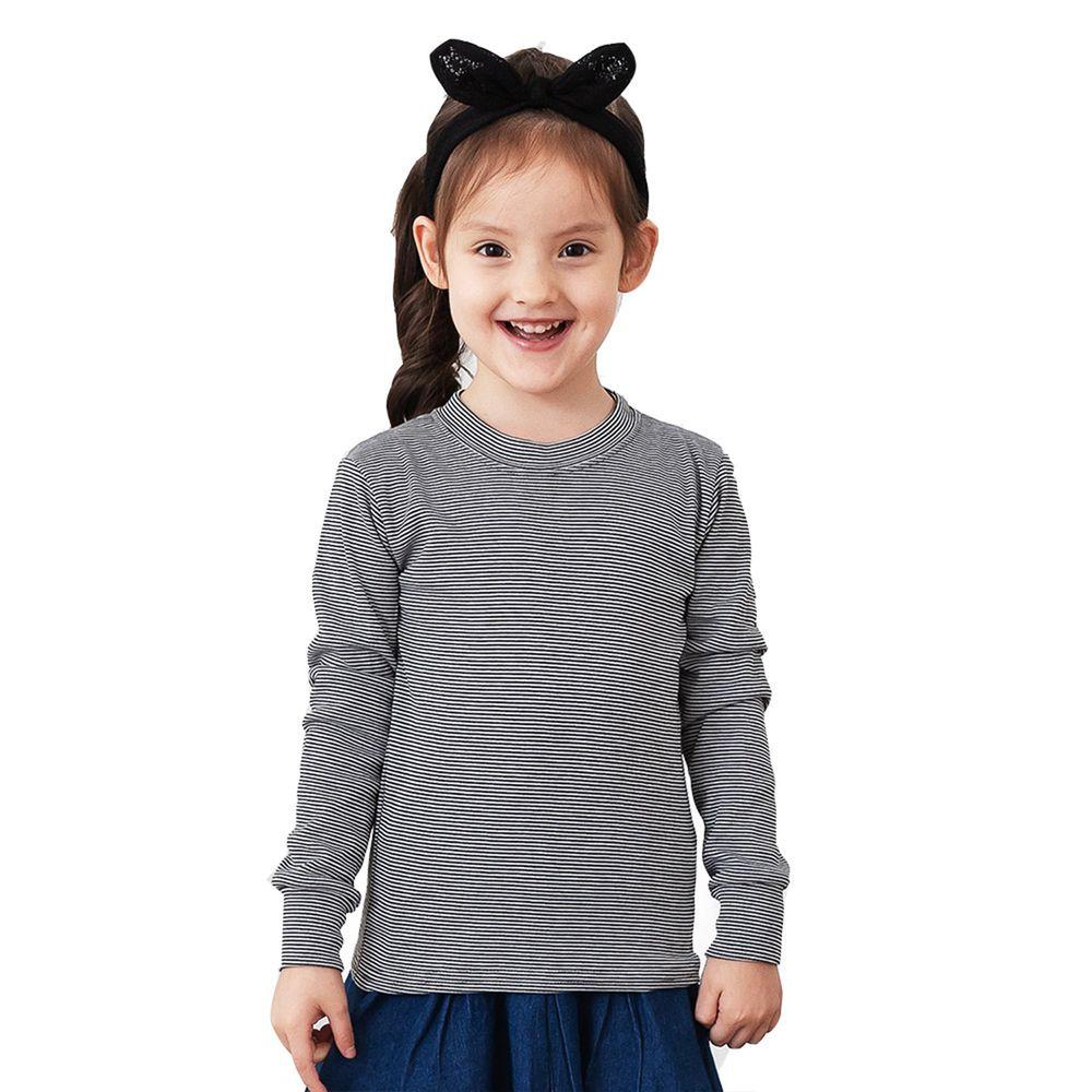 GIAT - 兒童立領條紋輕刷毛保暖衣-深灰/白條紋