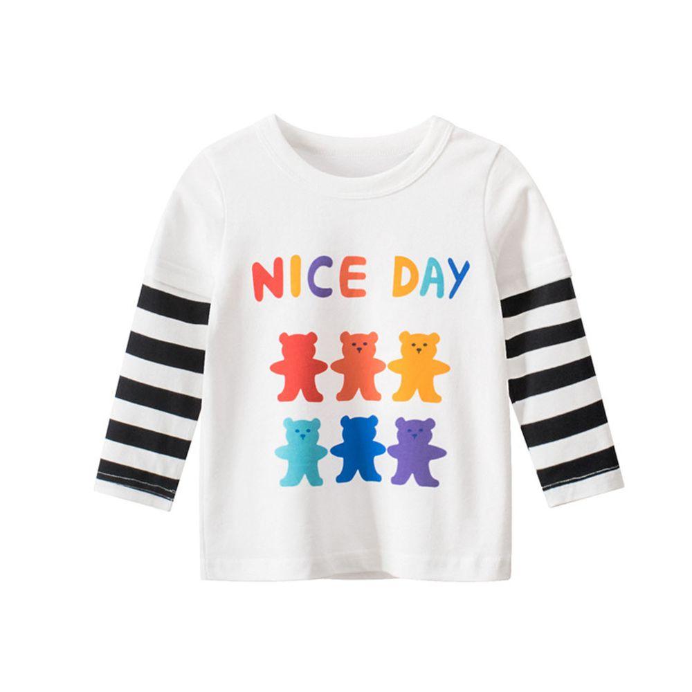 純棉長袖上衣-nice day小熊-白色