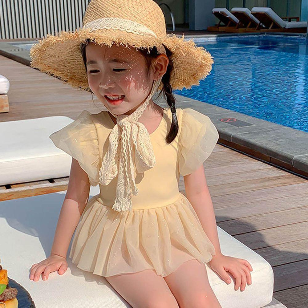 網紗澎澎公主袖兒童泳裝-黃色