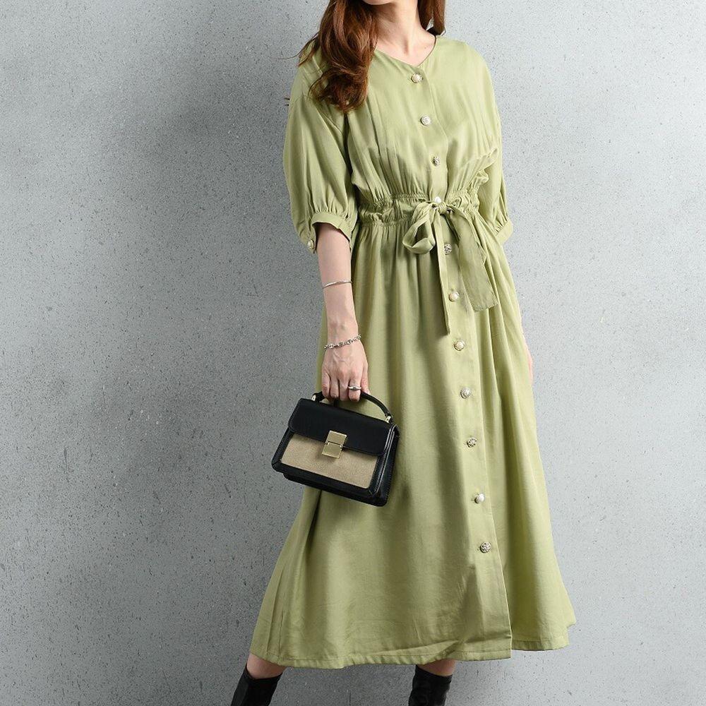 日本 ELENCARE DUE - 優雅V領腰間綁帶排釦五分袖洋裝/罩衫-綠