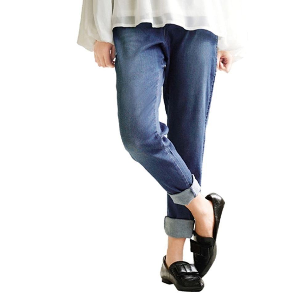 日本 zootie - Air Pants 輕薄彈性男友風寬鬆長褲-丹寧-藍