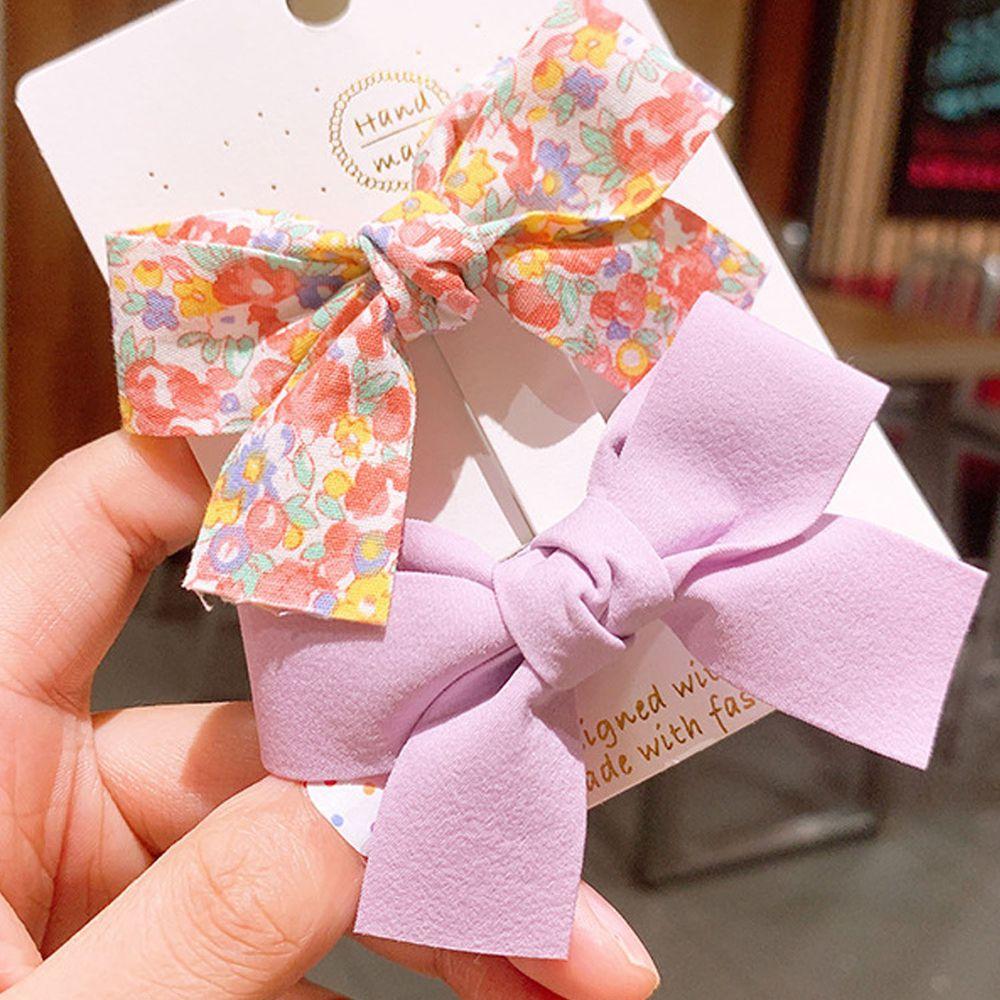 夏日印花蝴蝶結鴨嘴夾-紫色