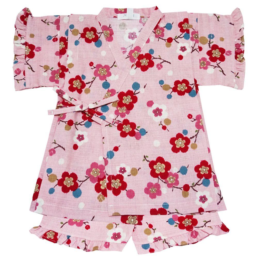 akachan honpo - 兩件式甚平-梅花-粉紅色