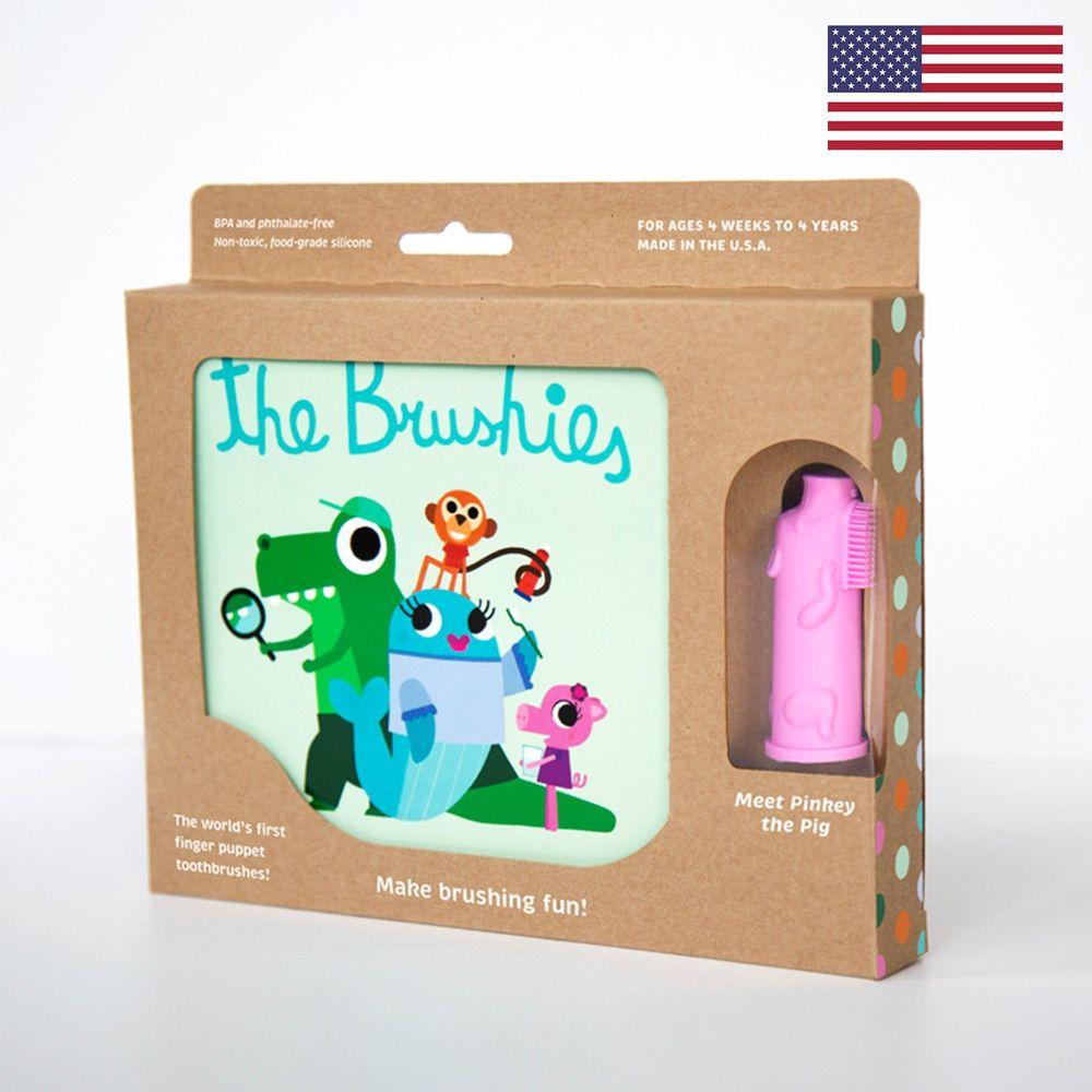 美國 The Brushies - 手指玩偶造型牙刷套組-豬小妹-1本英文童書+1支角色手指牙刷