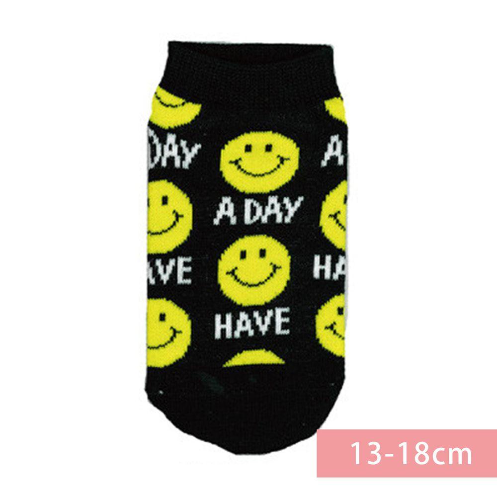 日本 OKUTANI - 童趣日文插畫短襪-笑臉-黑黃 (13-18cm(3-6y))