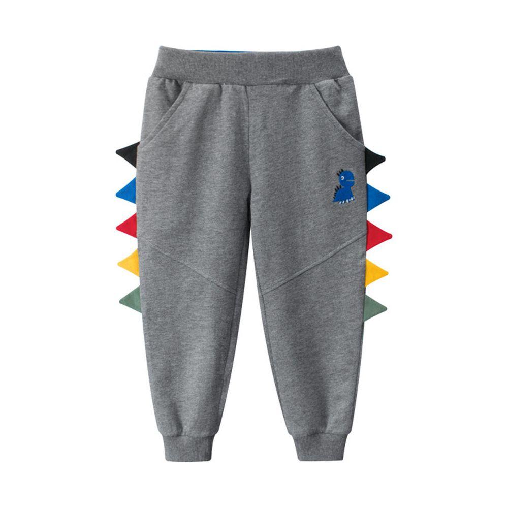 純棉長褲-彩色立體恐龍-灰色