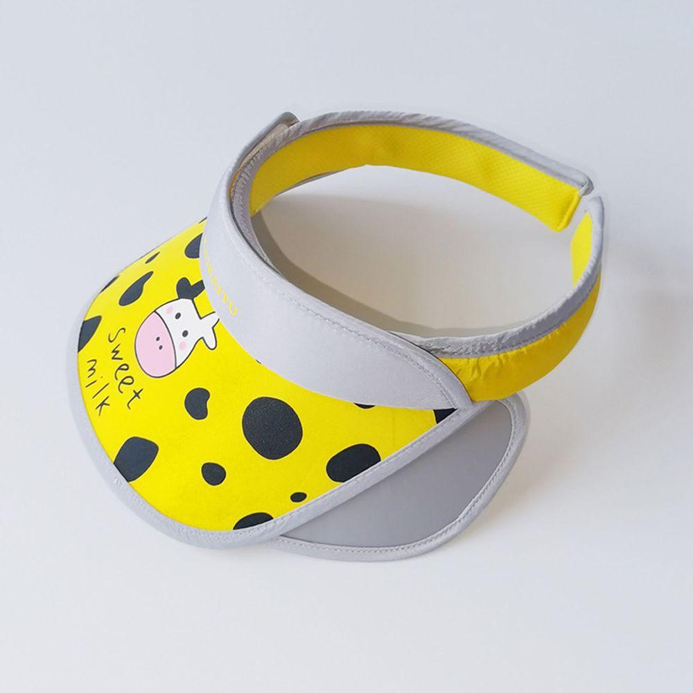 兒童大帽沿空頂遮陽帽-乳牛-黃色 (50-53cm)