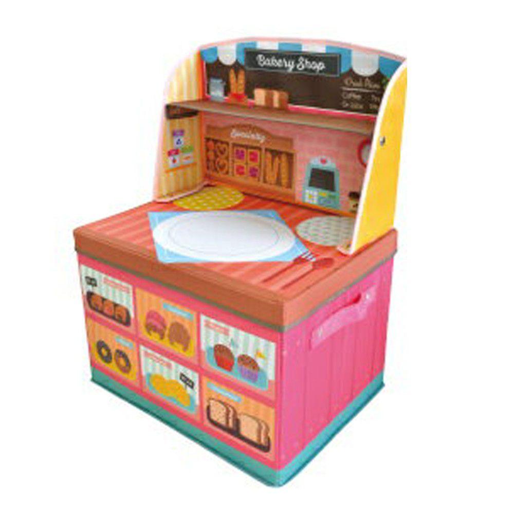 日本 U-COMPANY - 小書桌型折疊收納箱-麵包店