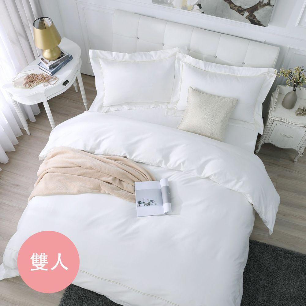 鴻宇HONGYEW - 經典奢華60織300條純色刺繡雙人床包組-簡約白-白-5X6.2