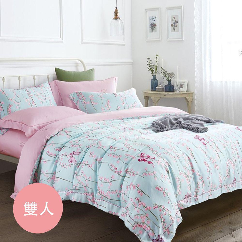 飛航模飾 - 裸睡天絲鋪棉床包組-嫻花(雙人鋪棉床包兩用被四件組) (標準雙人 5*6.2尺)
