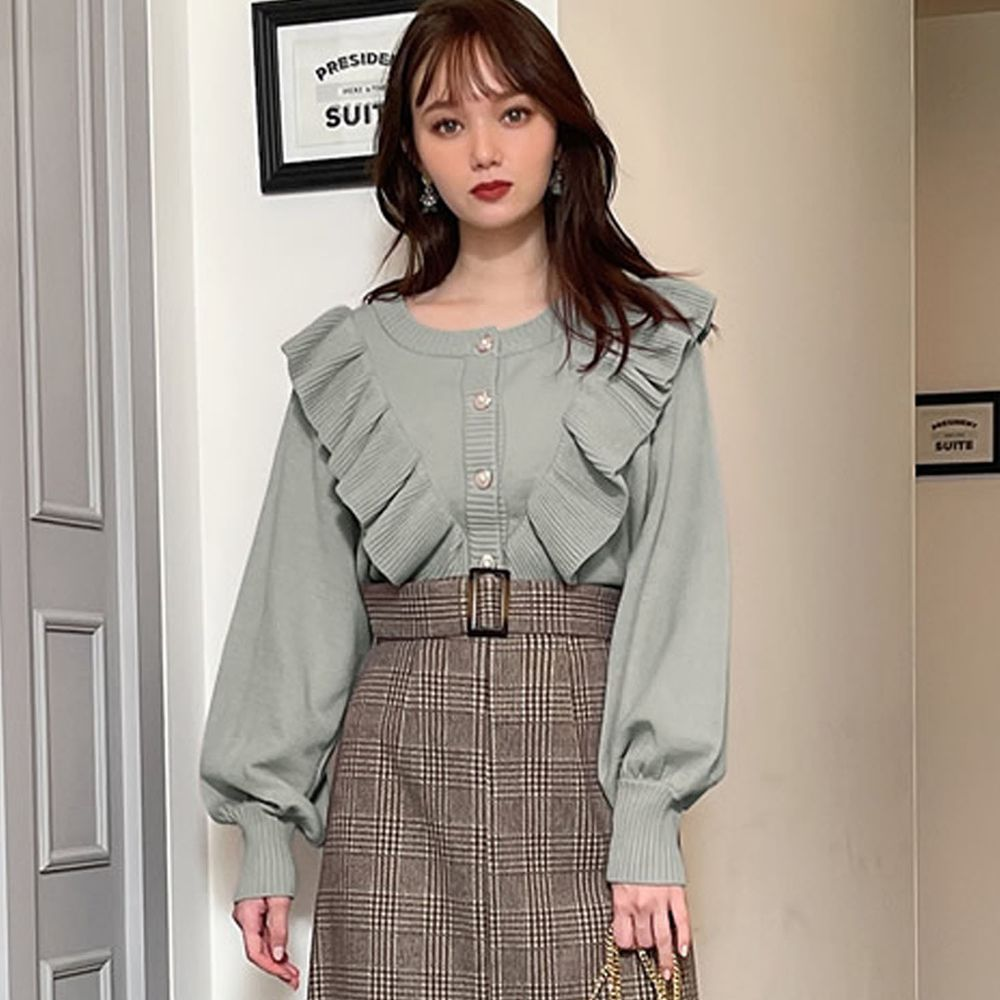 日本 GRL - 荷葉珍珠釦短版長袖針織上衣/外套-綠