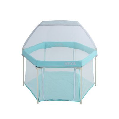 GleeKids 樂寶 - HEXA™海星折疊遊戲圍欄-1+1超值組-湖水藍-附專屬蚊帳配件x1