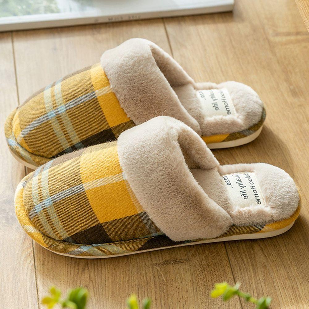 日系格紋防滑保暖棉拖鞋-暖黃