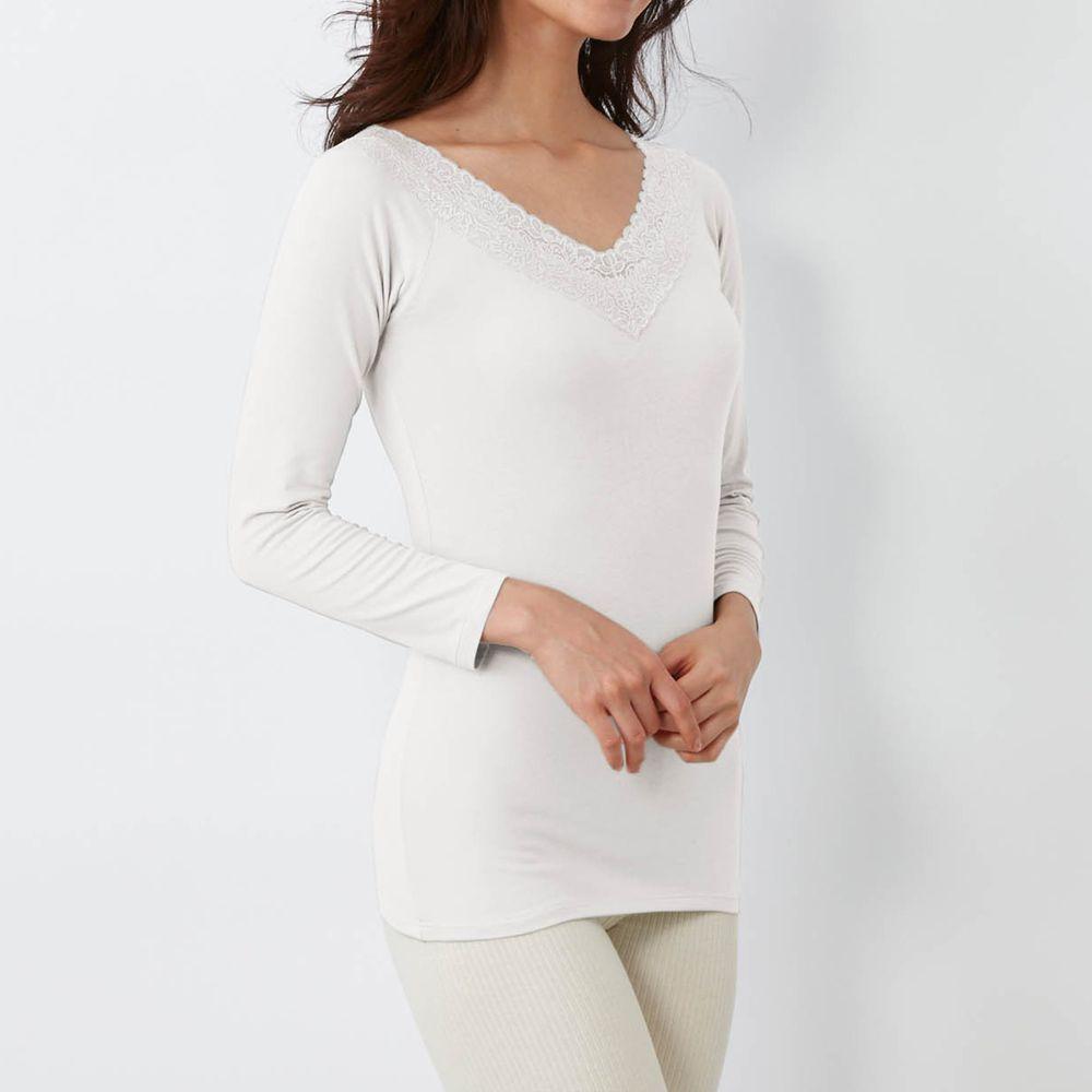 日本千趣會 - 95%棉 (媽媽)蕾絲領口九分袖發熱衣-白