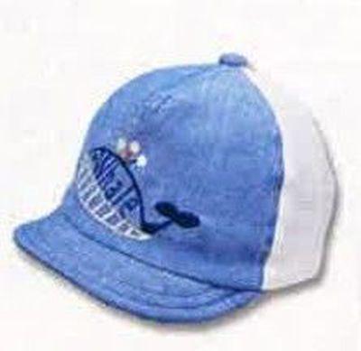 日本製鯨魚刺繡棒球帽(附彈性帽帶)-水藍