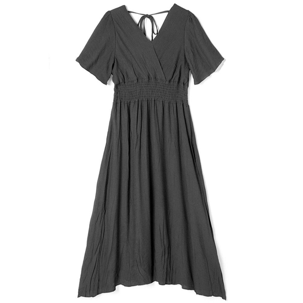 日本 GRL - 飄逸前後V領短袖洋裝-時尚黑
