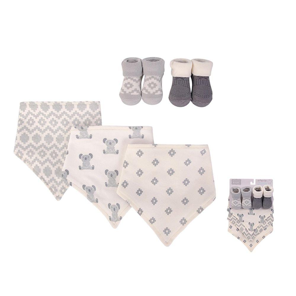 美國 Luvable Friends - 100%純棉三角領巾3入組+短襪2入套裝組-灰熊寶寶