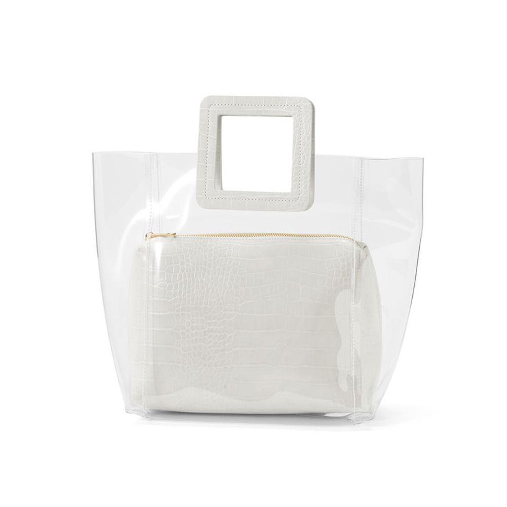 日本 GRL - 時尚異材質拼接透明子母包-鱷魚紋-天使白