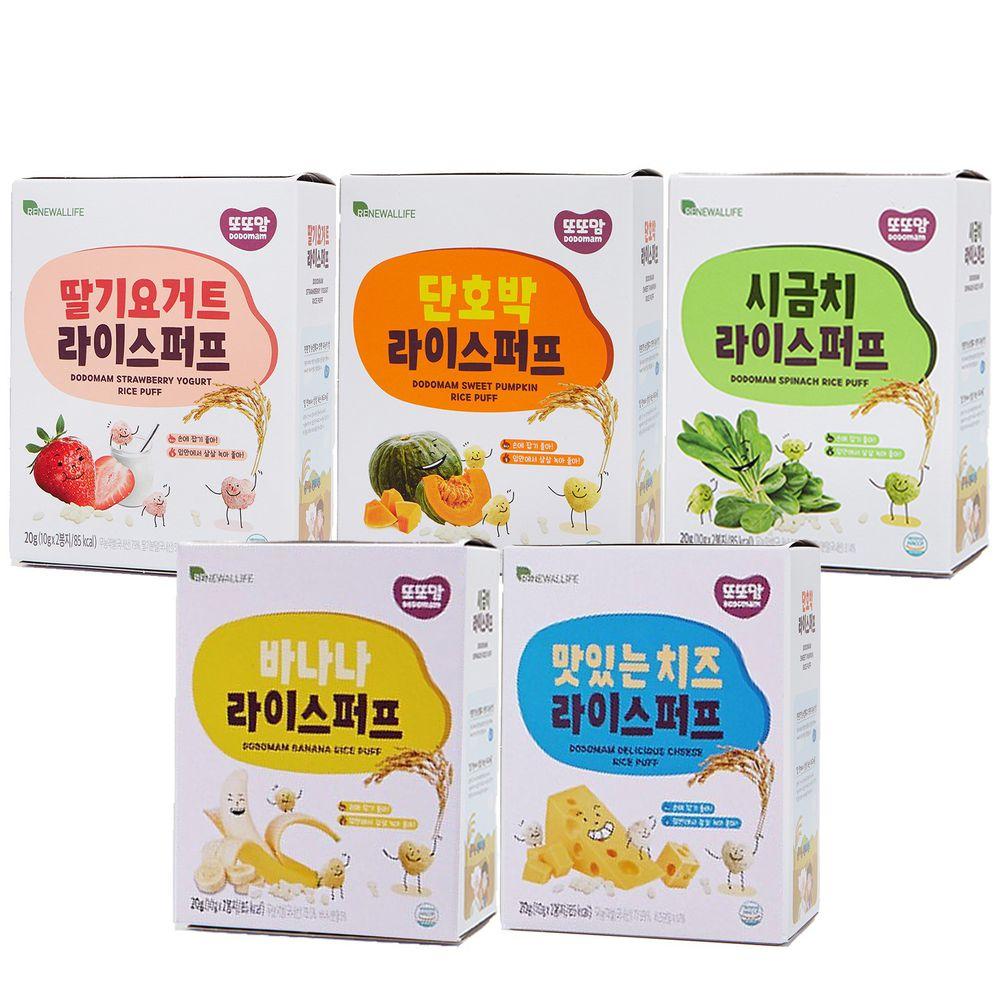 韓爸田園日記 - 米圈圈米球餅-綜合5入(草莓優格/甜南瓜/菠菜/起司/香蕉)-1包/20公克