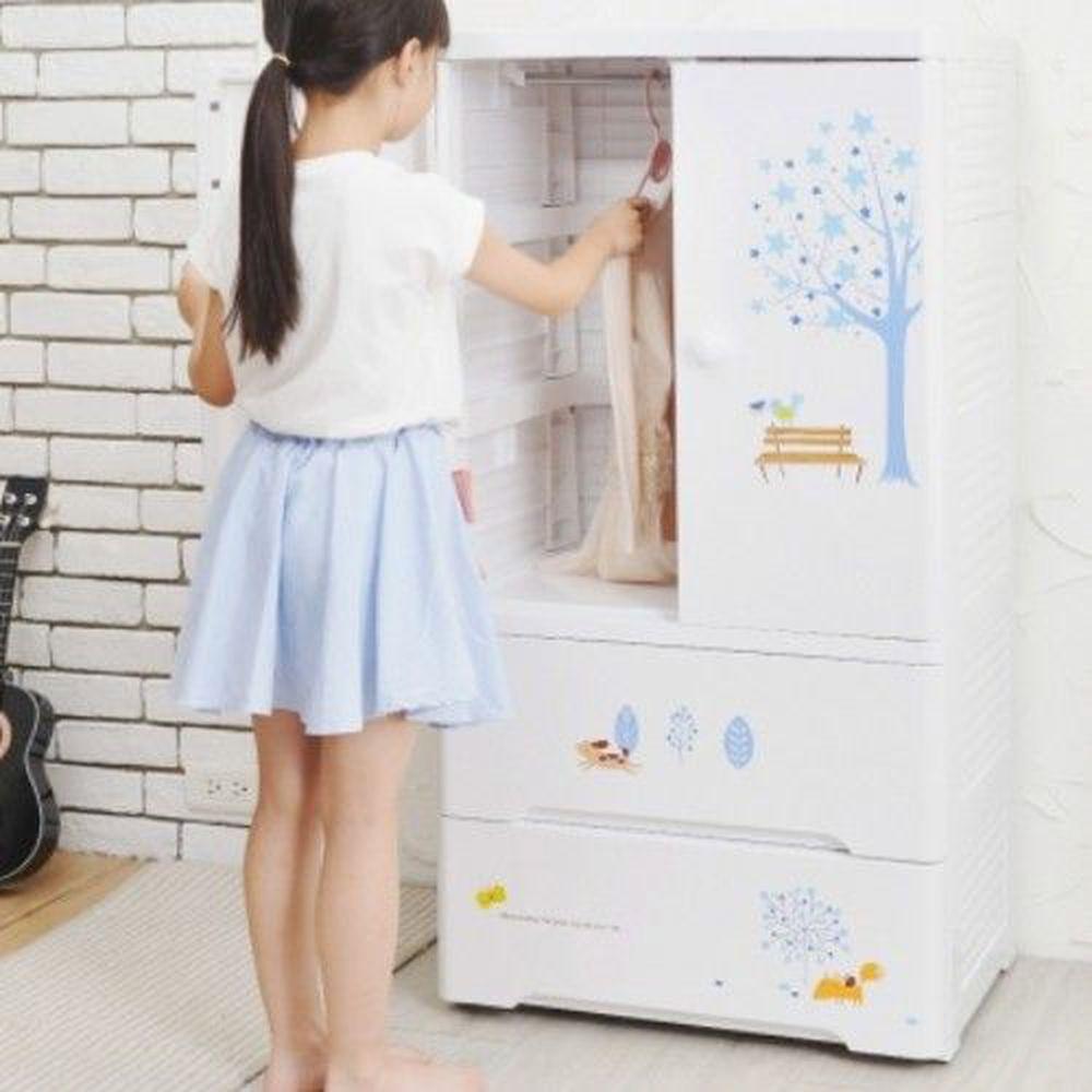 家窩 - 貝格雙開門式兒童吊掛衣櫃(DIY組裝)-北歐星辰-雙開門90L+單層30L*2層
