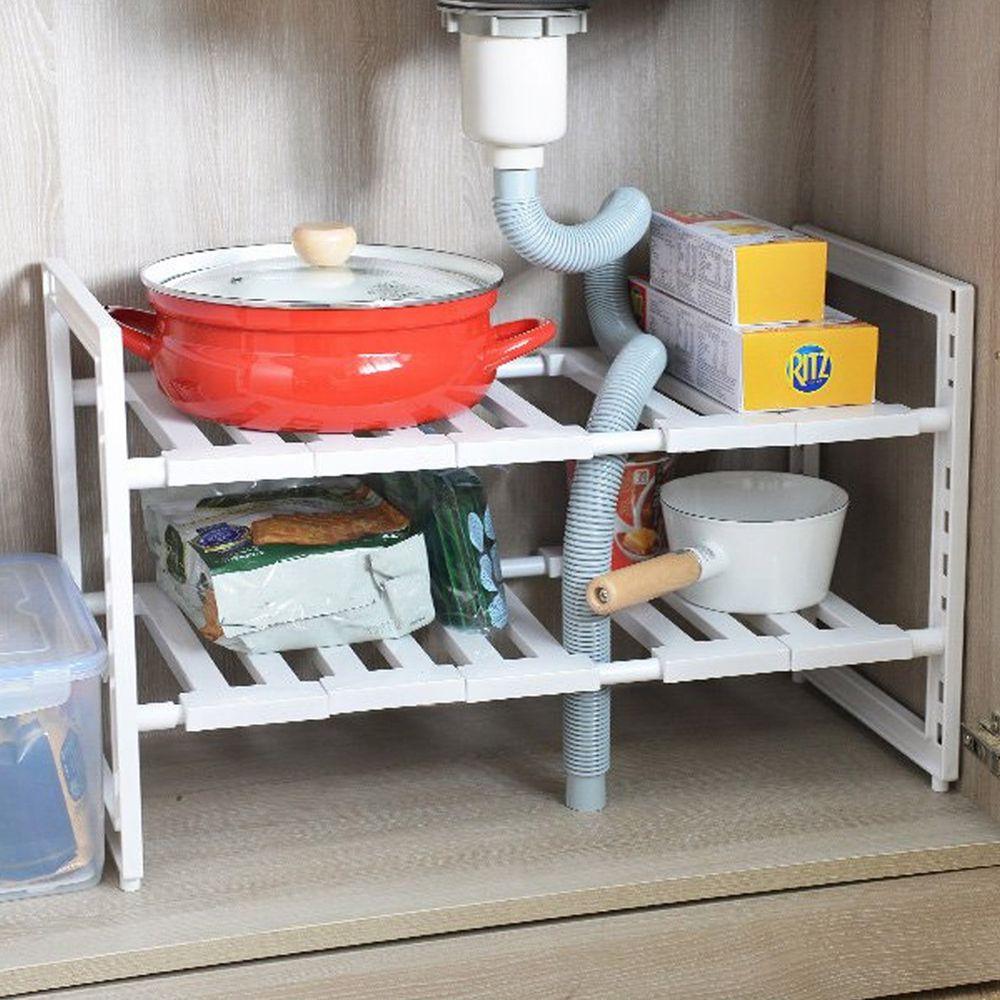 日本 Pearl金屬 - 廚下水槽伸縮式收納層架(深30cm)