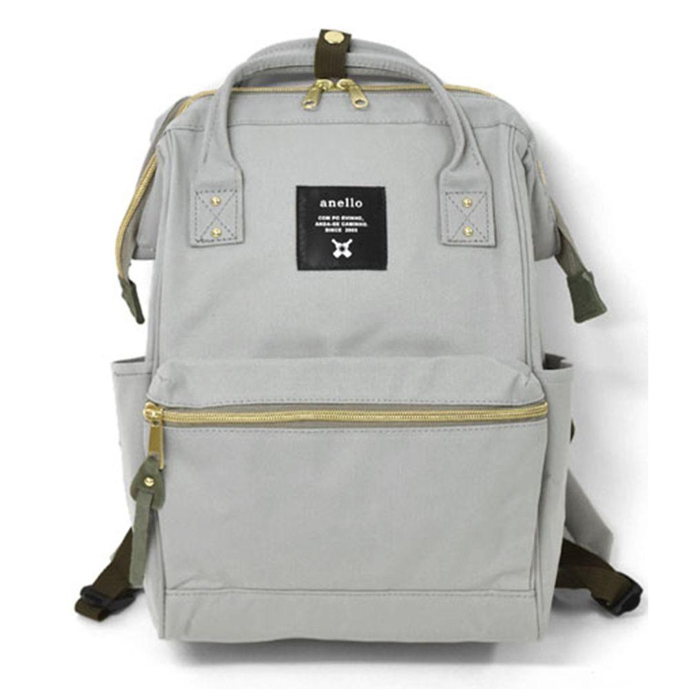 日本 Anello - 日本大開口牛津布後背包-mini小尺寸-LGY淺灰