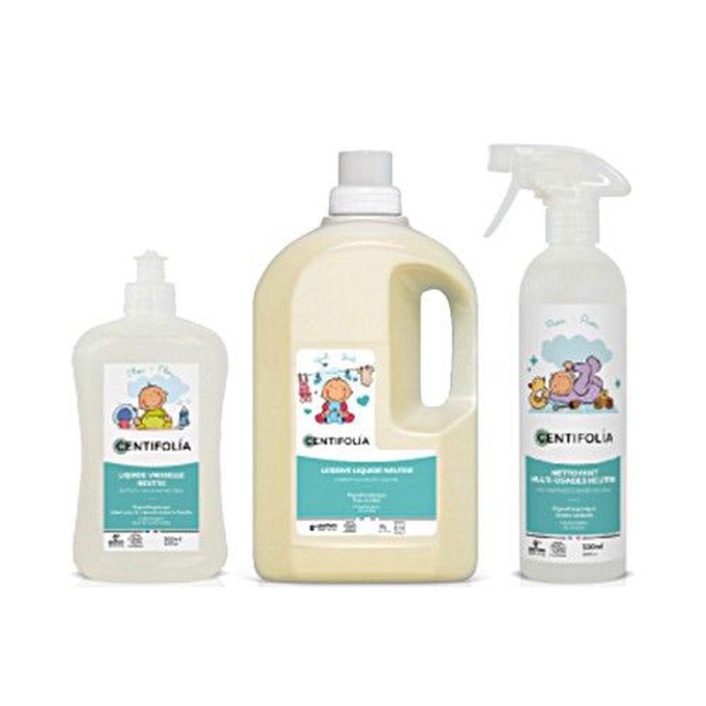 法國貝貝 - 嬰兒系列-清潔三兄弟三入組-嬰幼兒天然洗衣精(無香精) 1.5L + 嬰幼兒天然奶瓶碗盤洗潔劑(無香精) 500ml + 嬰幼兒天然多用途清潔噴霧 (無香精)500ml